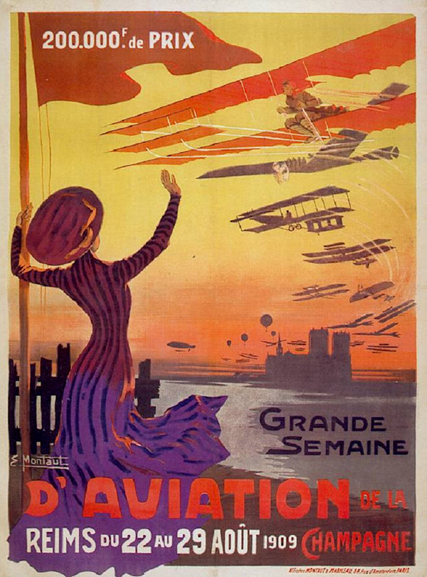Affiche grande semaine de l'aviation Reims 1909